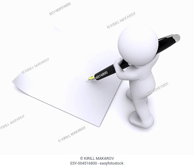 little 3d character write a card with big pen