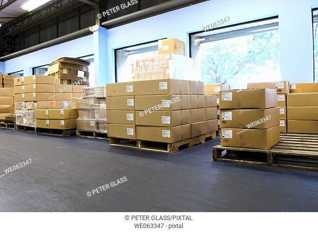 Cardboard boxes, on wooden pallets, arranged against the wall in a warehouse