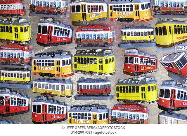 Portugal, Lisbon, historic downtown, Praca da Figueira, store, gift, shopping, souvenir, vintage trolley, tram, refrigerator magnet, display sale