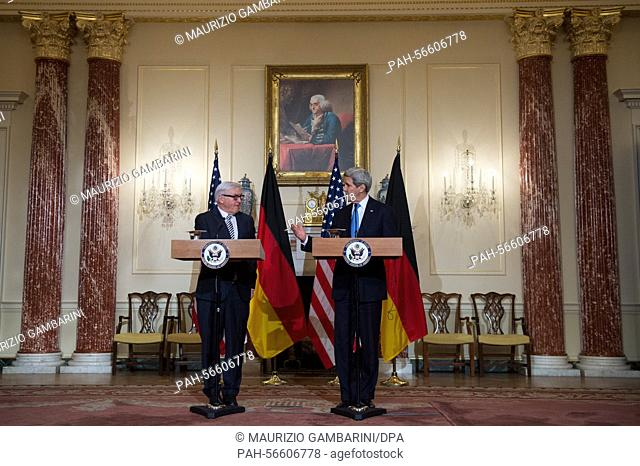 German Foreign Minister Frank-Walter Steinmeier (L) and US Secretary of State John Kerry (R)hold a joint press conference in the Benjamin Franklin room of the...