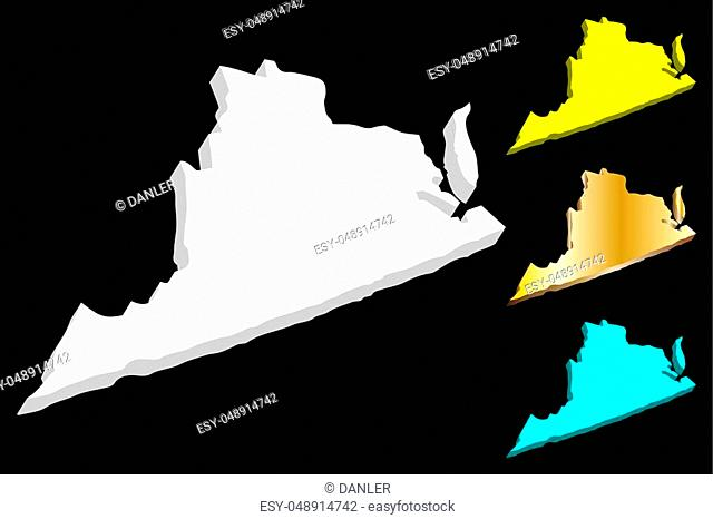 3D map of Virginia (United States of America, Commonwealth of Virginia) - white, yellow, blue and gold - vector illustration