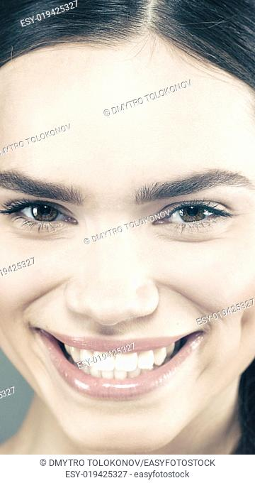 Beauty smile. Attractive young girl smiling. Health banner