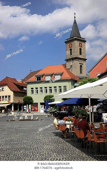 Market place and Pfarrkirche Mariae Himmelfahrt parish church of the Assumption, Bad Neustadt an der Saale, Landkreis Rhoen-Grabfeld district, Lower Franconia