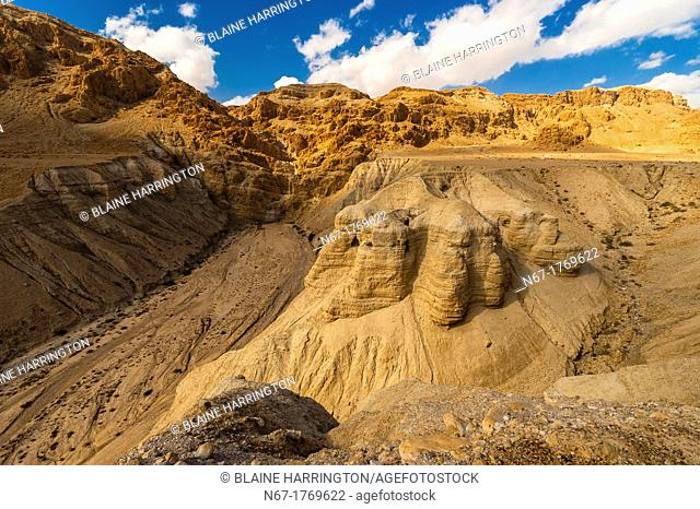 Qumran National Park archaelogical site where the Dead Sea Scrolls were accidentally discovered in 1947 by a goat herder, Israel