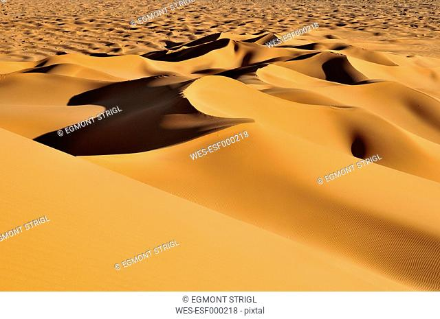 Algeria, View of sand dunes at Erg Tihoulahoun