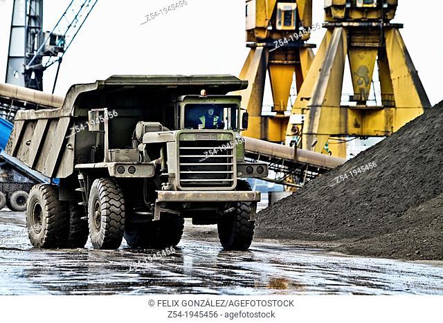 Giant truck in Aviles harbor, Asturias, Spain