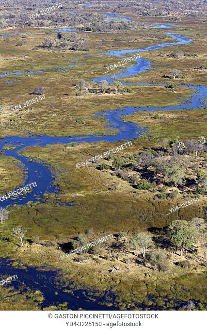 The Gomoti River, aerial view, Okavango Delta, Moremi Game Reserve, Botswana