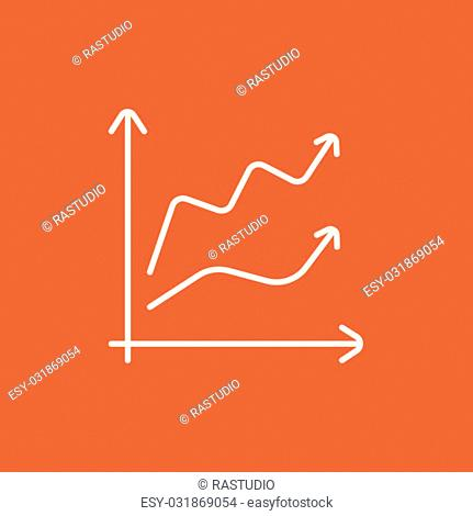 Growth graph line icon for web, mobile and infographics. Vector white icon isolated on red background