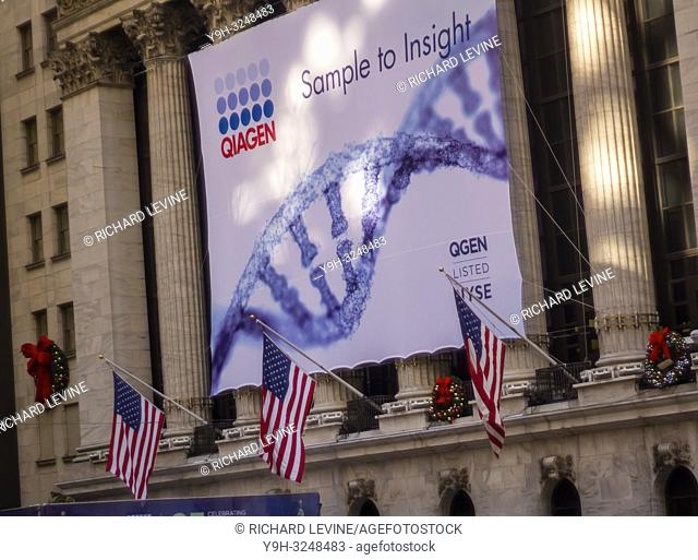 Amidst preparations for the evenings holiday tree lighting the New York Stock Exchange in Lower Manhattan in New York on Thursday, November 29