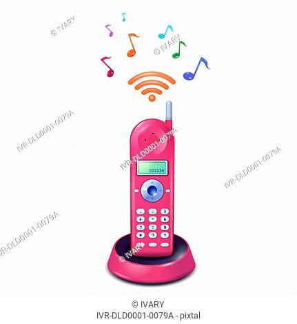 Pink cordless phone with musical notes