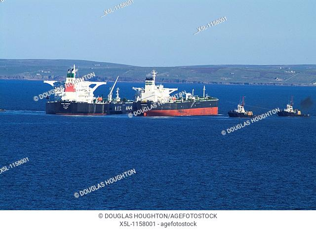 Shipping SCAPA FLOW ORKNEY OIC tugs manoeuvring Oil tankers for fuel transferring
