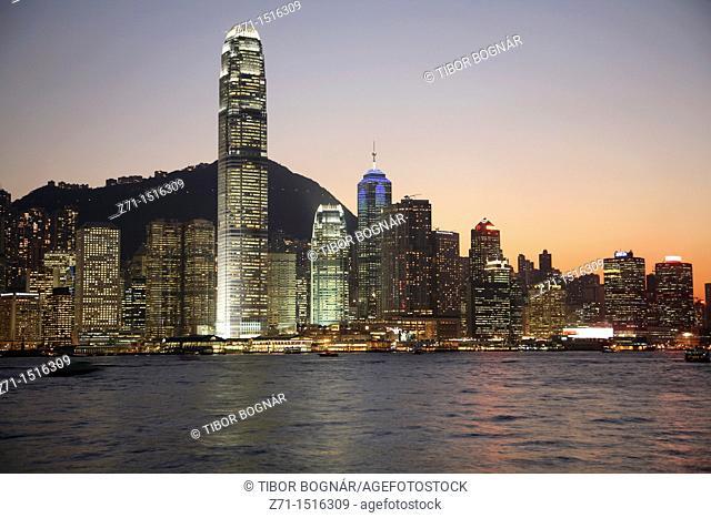 China, Hong Kong, Central District skyline at night