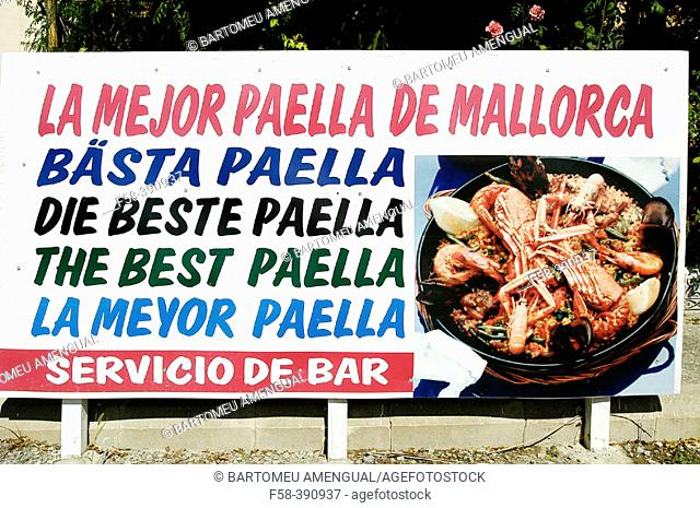 "Billboard advertising for ""The Best Paella"" Menestralia, Campanet. Majorca. Balearic Islands. Spain"