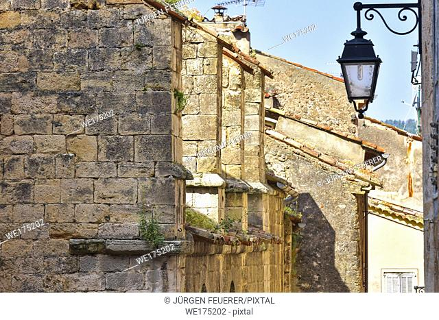 village Moustiers-Sainte-Marie, Provence, lane with church, France, member of most beautiful villages of France