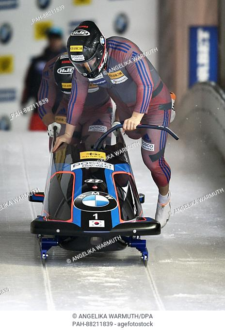 The bobsleigh athletes Won Yun-Jong and Seo Young-Woo from South Korea during the Bobsleigh and Skeleton World Championships in Schoenau Am Koenigssee, Germany