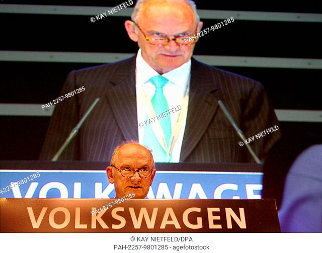 Ferdinand Piech, chairman of the supervisory board of Volkswagen AG, gives a speech at the opening of the VW general meeting in Hamburg, Germany