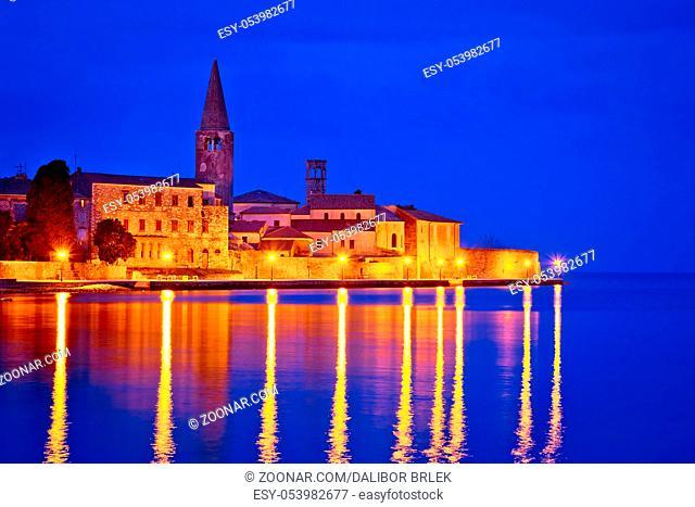 Town of Porec coast evening view, UNESCO landmark in Istria, Croatia