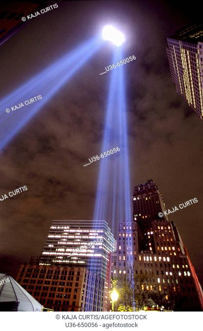 World Trade Center memorial lights, Manhattan, NYC. USA