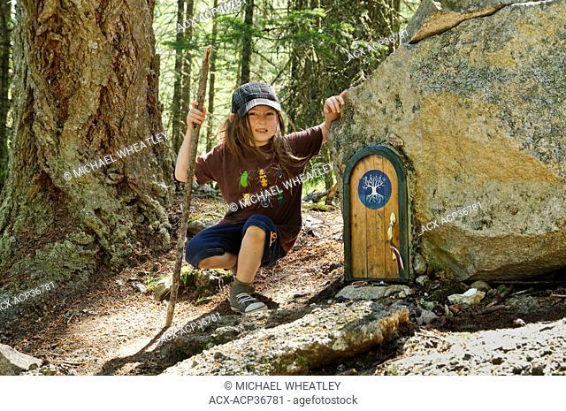 Cedar Bricker at Fairy door, Mount Erskine, Salt Spring Island, British Columbia, Canada