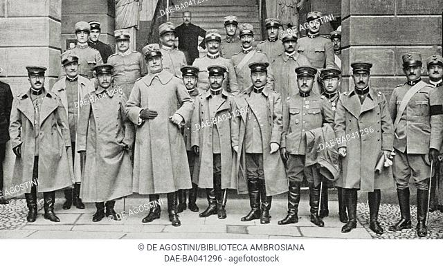 General Rossi welcoming the Japanese mission to the military school in Modena, Italy, World War I, photo by Umberto Orlandini from L'Illustrazione Italiana