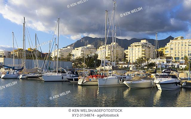 Marbella, Costa del Sol, Malaga Province, Andalusia, southern Spain. Yachts in Puerto Deportivo Marina la Bajadilla