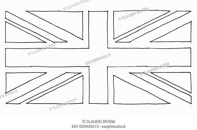 hand drawn national flag of the United Kingdom (UK) aka Union Jack, in black and white line art texturised paper background
