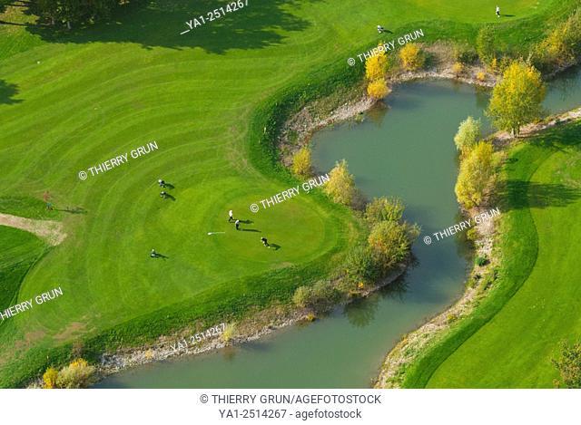 France, Haut Rhin 68, Wittelsheim, Golf club des Bouleaux aerial view