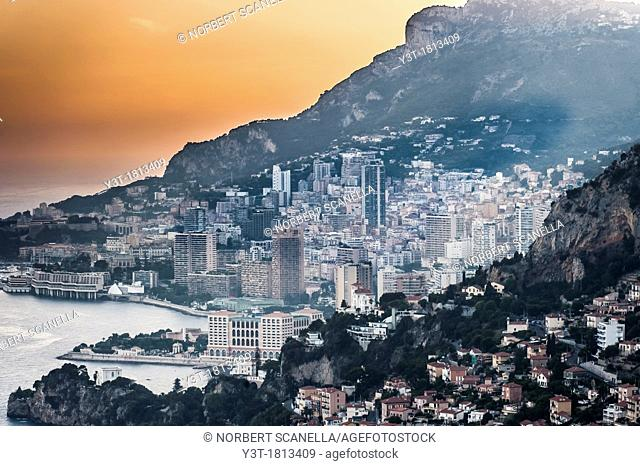 Principality of Monaco, Monte Carlo. Bay of Monaco at sunset