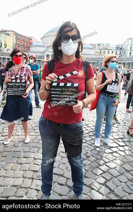 The workers of the Campania Region of Culture and Entertainment gathered in Piazza del Plebiscito in Naples, to protest the restrictive measures set out in the...