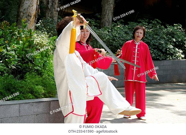 Performing chinese sword dance at New Town Plaza, Shain, Hong Kong