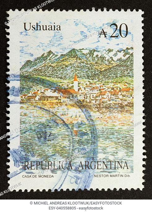 ARGENTINA - CIRCA 1980: Stamp printed in the Argentina shows a picture of the village Ushuaia, circa 1980