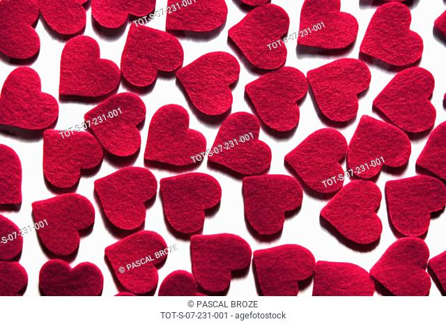 Close-up of red hearts