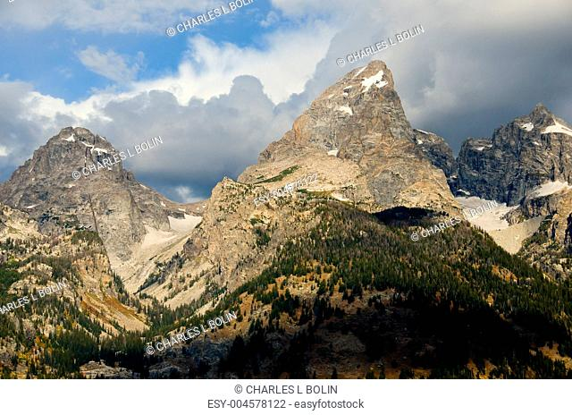 The Middle Teton left and Grand Teton center, Grand Teton National Park, Wyoming, USA