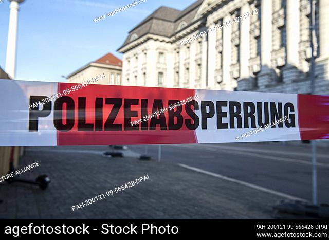 """21 January 2020, Berlin: """"""""Police Barricade"""""""" is written on the tape at the Old Townhouse. According to initial findings during construction work"""
