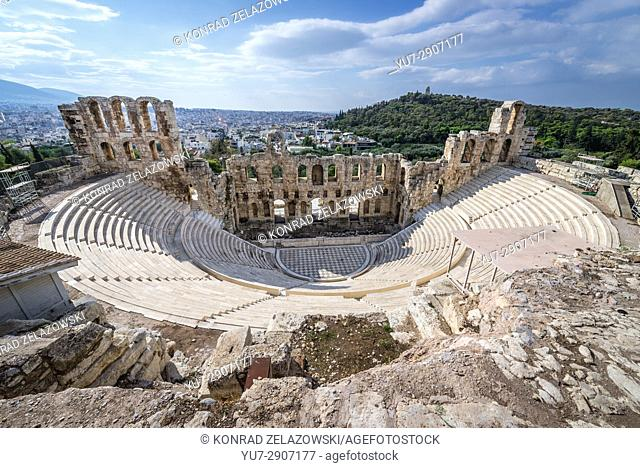 Aerial view of Odeon of Herodes Atticus, part of ancient Acropolis of Athens city, Greece
