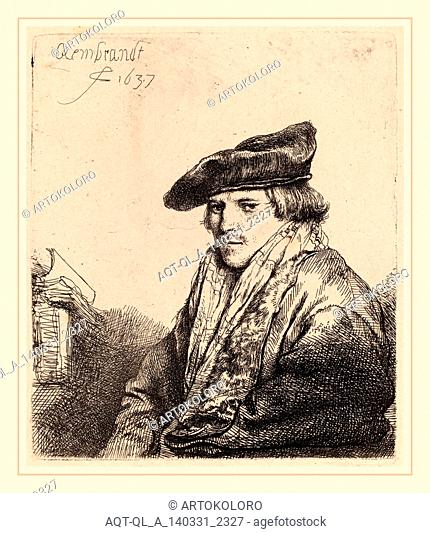 Rembrandt van Rijn (Dutch, 1606-1669), Young Man in a Velvet Cap (Ferdinand Bol?), 1637, etching