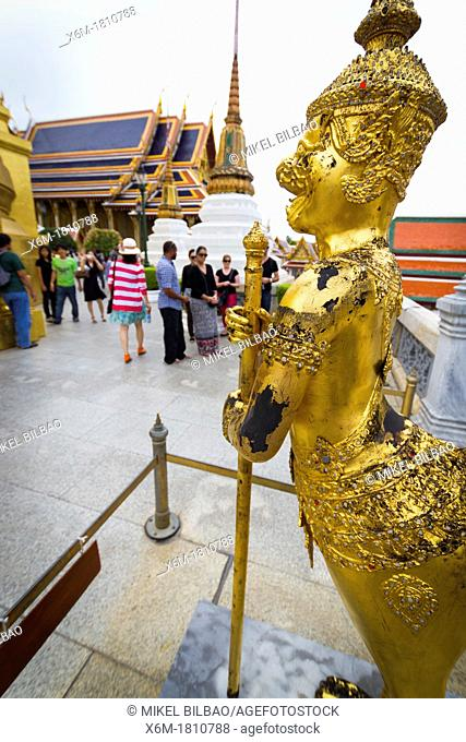 Statue of a kinnara  Wat Phra Kaew or Temple of the Emerald Buddha  Grand Palace  Bangkok, Thailand