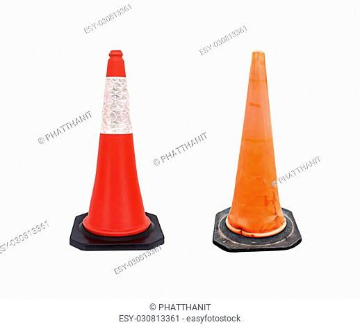 Set of Traffic cone - barricade warning cones on white background, clipping path