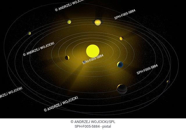 Solar system, computer artwork