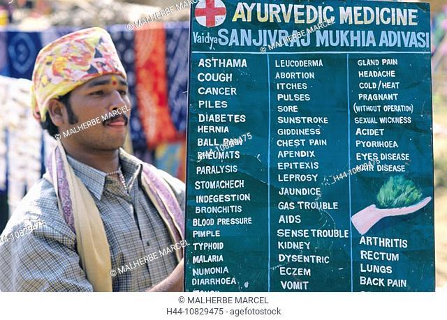 India, Goa, Anjuna, Ayurveda, man, notice board, sign, shield, doctor, healer, remedial art, remedial customer, medici