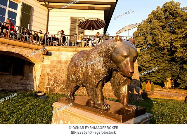 Bronze statue of a bear designed by the Italian paintress Lilli Kerzinger-Werth in 1964, Baerenschloessle castle, originally a summer residence