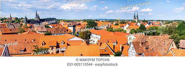 view of the tiled roofs of medieval houses