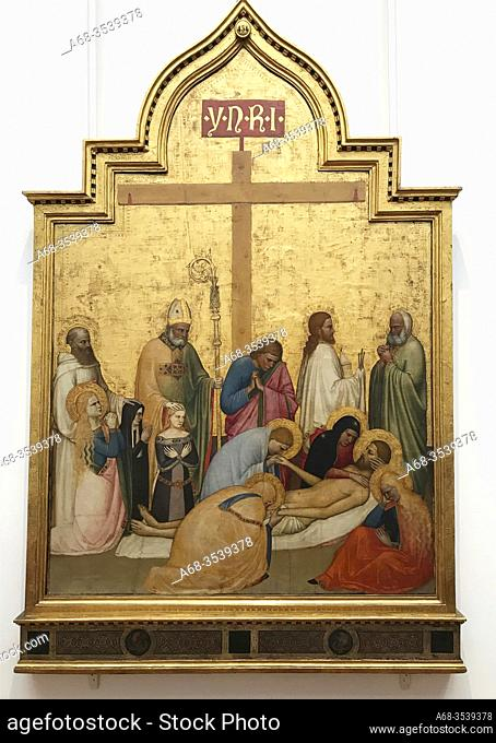 Lamentation over the Dead Christ, 1360-5 cirka, by Giottino Giotto di Stefano. Tempera on wood. The Uffizi Gallery is a prominent art museum located adjacent to...