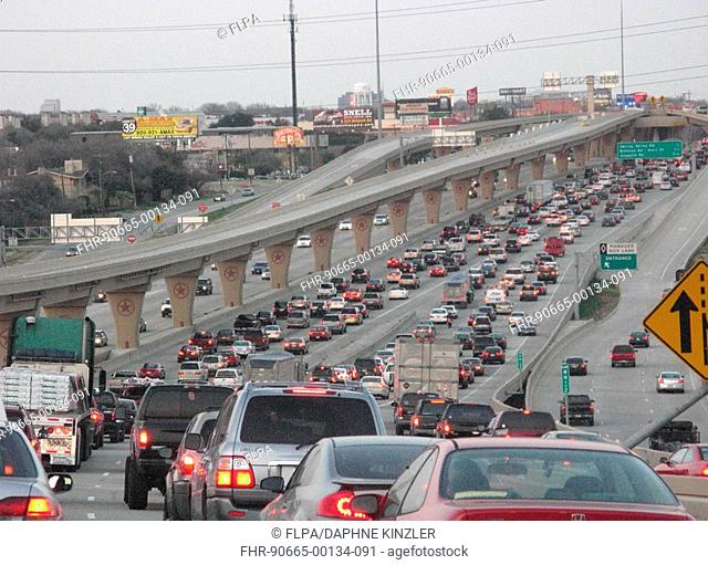 Traffic jam on city road, cause of air pollution, Dallas, Texas, U S A