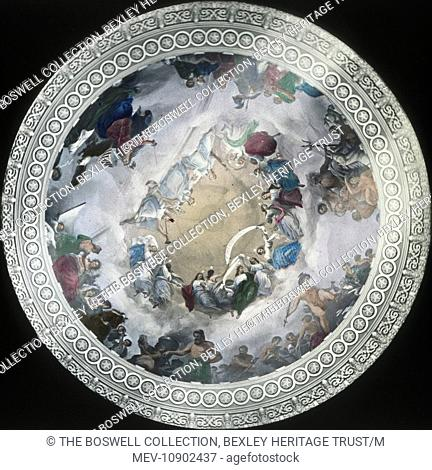 Coloured lantern slide of a ceiling painting which adorns the underside of the dome in the rotunda of the United states Capitol
