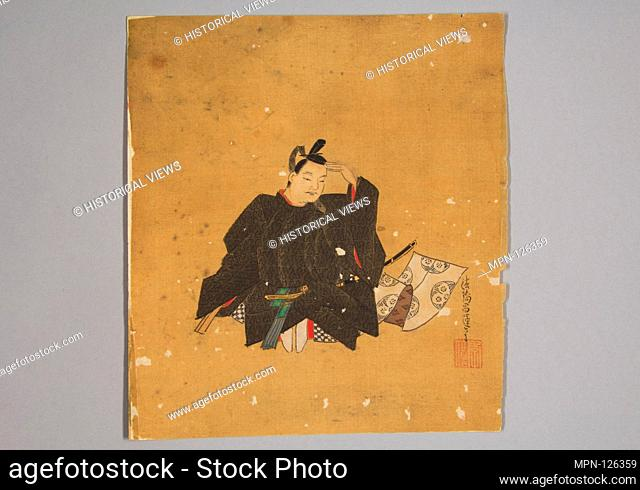 Immortal Poet. Artist: Kano Shoun (1637-1702); Period: Edo period (1615-1868); Date: 17th century; Culture: Japan; Medium: Unmounted shikisi leaf; ink and color...