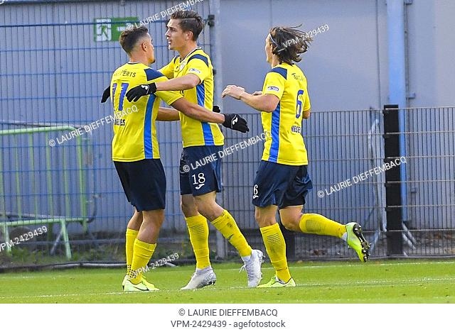 Union's Sigurd Haugen celebrates with his teammates after scoring during a soccer game between Royale Union Saint-Gilloise and RE Virton