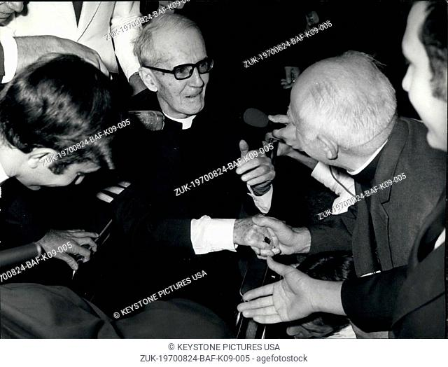 Aug. 24, 1970 - Monsignor Walsh Who Was Accused of Espionage Has Been Set Free (Credit Image: © Keystone Press Agency/Keystone USA via ZUMAPRESS.com)