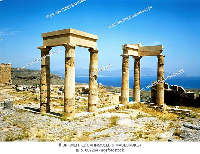 Temple of Anthena Lindia, Acropolis, Lindos, Rhodes, Dodecanese, Greece, Europe