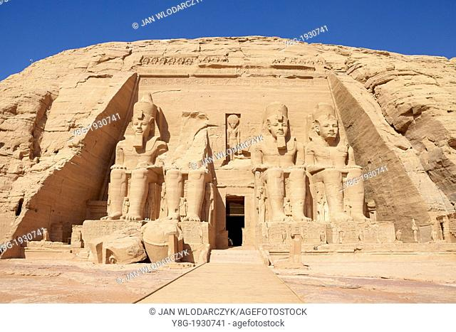 Abu Simbel, Egypt - the Ramses II Great Temple, Abu Simbel Temple on the shore of Nasser Lake, Lower Nubia, Egypt